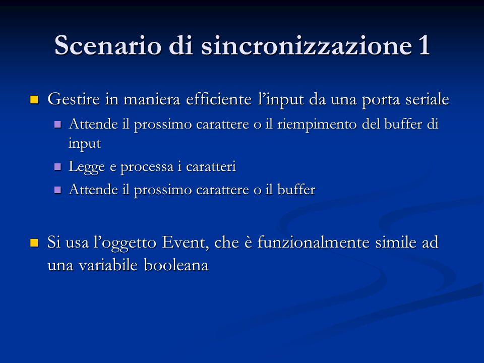 Scenario di sincronizzazione 1 Gestire in maniera efficiente l'input da una porta seriale Gestire in maniera efficiente l'input da una porta seriale A