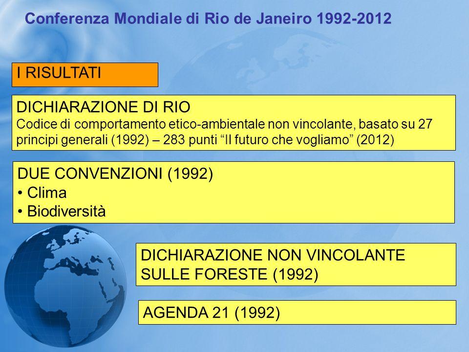 Conferenza Mondiale di Rio de Janeiro 1992-2012 I RISULTATI DICHIARAZIONE DI RIO Codice di comportamento etico-ambientale non vincolante, basato su 27