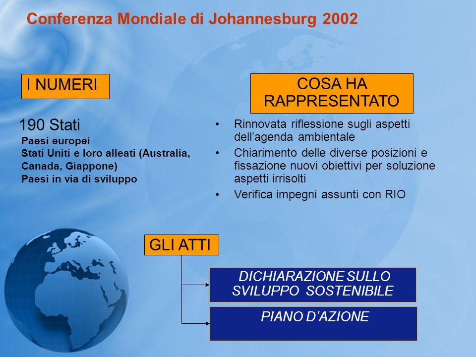 Conferenza Mondiale di Johannesburg 2002 I NUMERI 190 Stati COSA HA RAPPRESENTATO Paesi europei Stati Uniti e loro alleati (Australia, Canada, Giappon