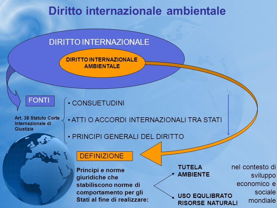 Diritto internazionale ambientale FONTE PRINCIPALE DIRITTI E OBBLIGHI DEGLI STATI PER LA PROTEZIONE DELL'AMBIENTE E LO SVILUPPO SOSTENIBILE TRATTATI Anni '90Nuova categoria CONVENZIONI AMBIENTALI GLOBALI CONVENZIONI-QUADRO integrate progressivamente da PROTOCOLLI Specifici atti di esecuzione CARATTERI COMUNI si ispirano ai principi dello sviluppo sostenibile sono il risultato di pressioni della comunità scientifica mondiale sui Governi gettano le basi per il consolidarsi di regimi giuridici di natura consuetudinaria innescano un processo normativo continuo flessibile attraverso procedure di revisione ed emendamento modulano in forma asimmetrica le situazione giuridiche soggettive degli Stati (principio della responsabilità comune, ma differenziata) non cambiano nulla rispetto ai trattati di diritto internazionale in ordine ai limiti di efficacia soggettiva AD OGGI NON ESISTE UN'ORGANIZZAZIONE MONDIALE PER LA PROTEZIONE DELL'AMBIENTE