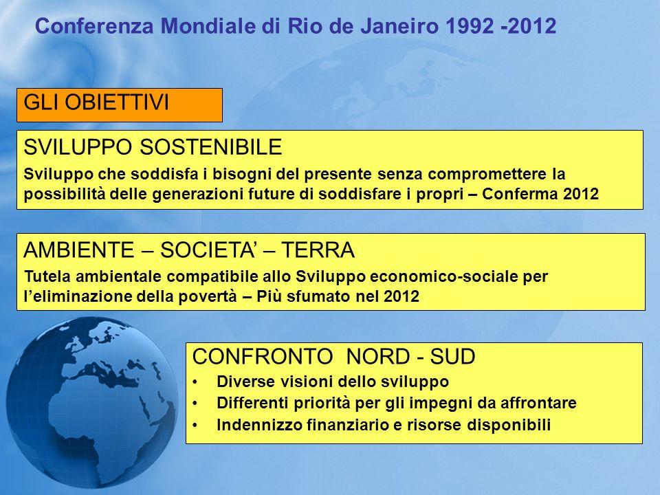 Conferenza Mondiale di Rio de Janeiro 1992 -2012 GLI OBIETTIVI SVILUPPO SOSTENIBILE Sviluppo che soddisfa i bisogni del presente senza compromettere l