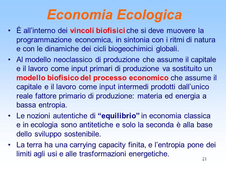 21 Economia Ecologica È all'interno dei vincoli biofisici che si deve muovere la programmazione economica, in sintonia con i ritmi di natura e con le dinamiche dei cicli biogeochimici globali.