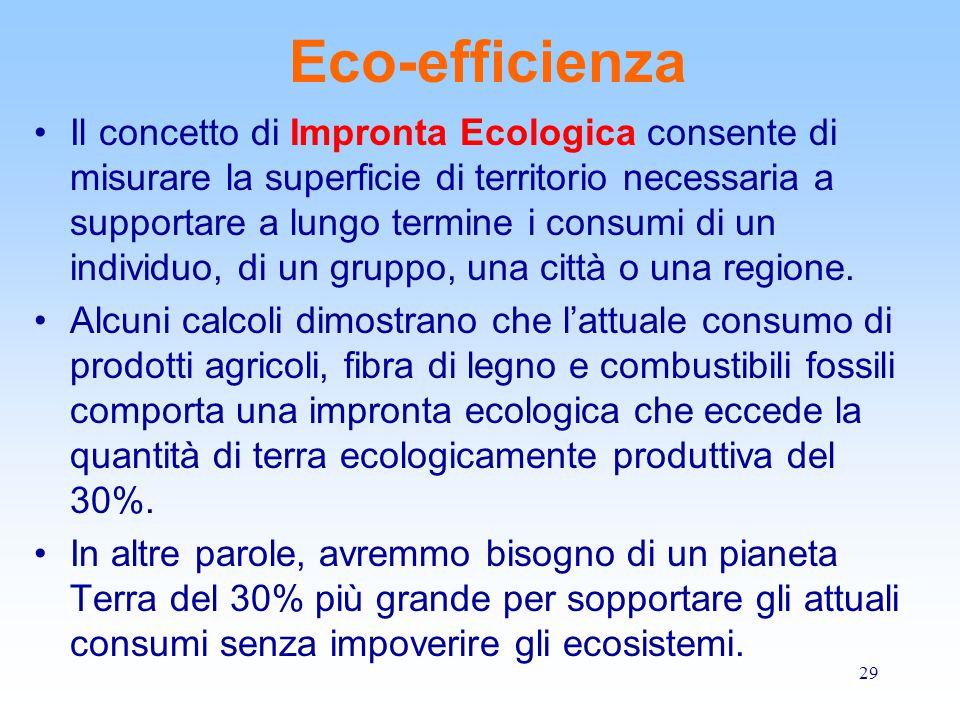 29 Eco-efficienza Il concetto di Impronta Ecologica consente di misurare la superficie di territorio necessaria a supportare a lungo termine i consumi di un individuo, di un gruppo, una città o una regione.