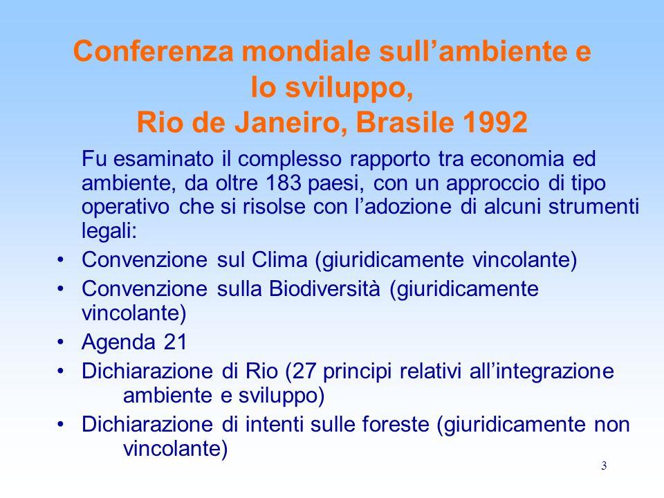 3 Conferenza mondiale sull'ambiente e lo sviluppo, Rio de Janeiro, Brasile 1992 Fu esaminato il complesso rapporto tra economia ed ambiente, da oltre
