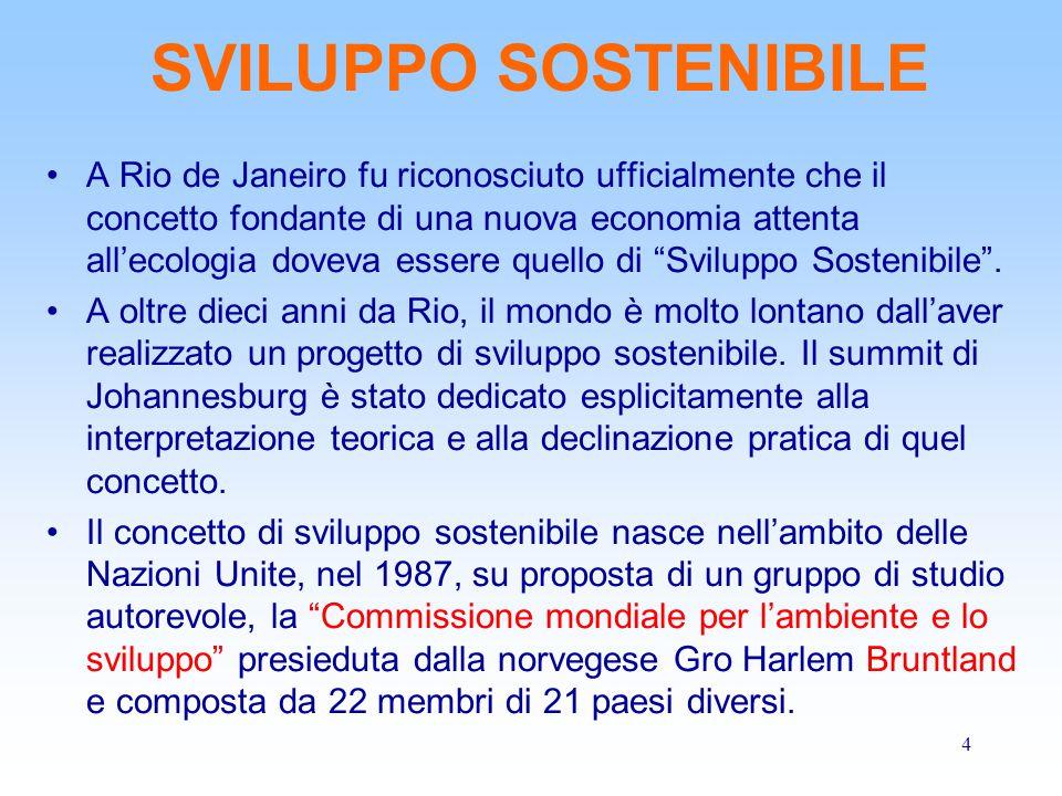4 SVILUPPO SOSTENIBILE A Rio de Janeiro fu riconosciuto ufficialmente che il concetto fondante di una nuova economia attenta all'ecologia doveva esser