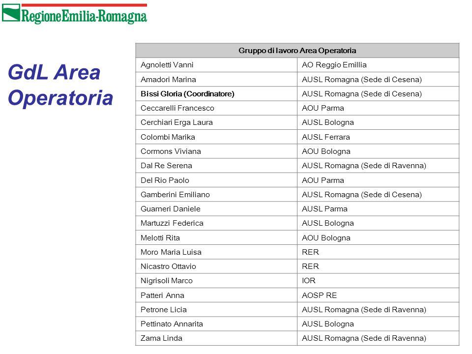 Gruppo di lavoro Area Operatoria Agnoletti VanniAO Reggio Emillia Amadori MarinaAUSL Romagna (Sede di Cesena) Bissi Gloria (Coordinatore)AUSL Romagna