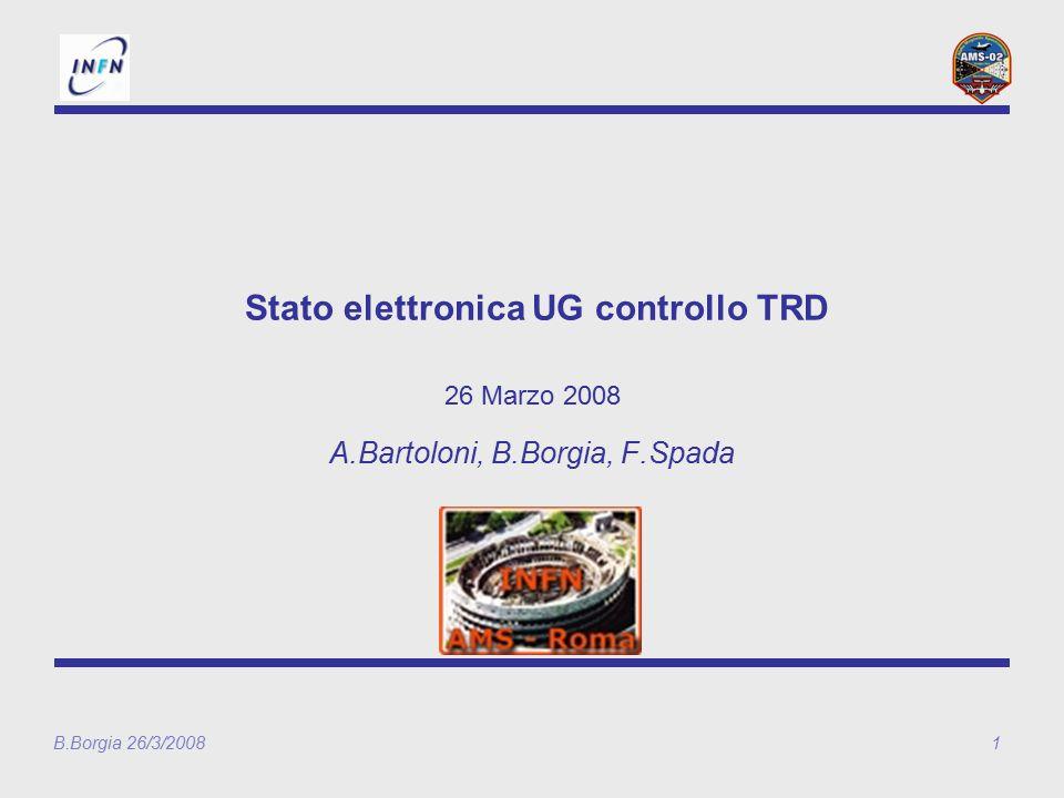 B.Borgia 26/3/20081 Stato elettronica UG controllo TRD 26 Marzo 2008 A.Bartoloni, B.Borgia, F.Spada