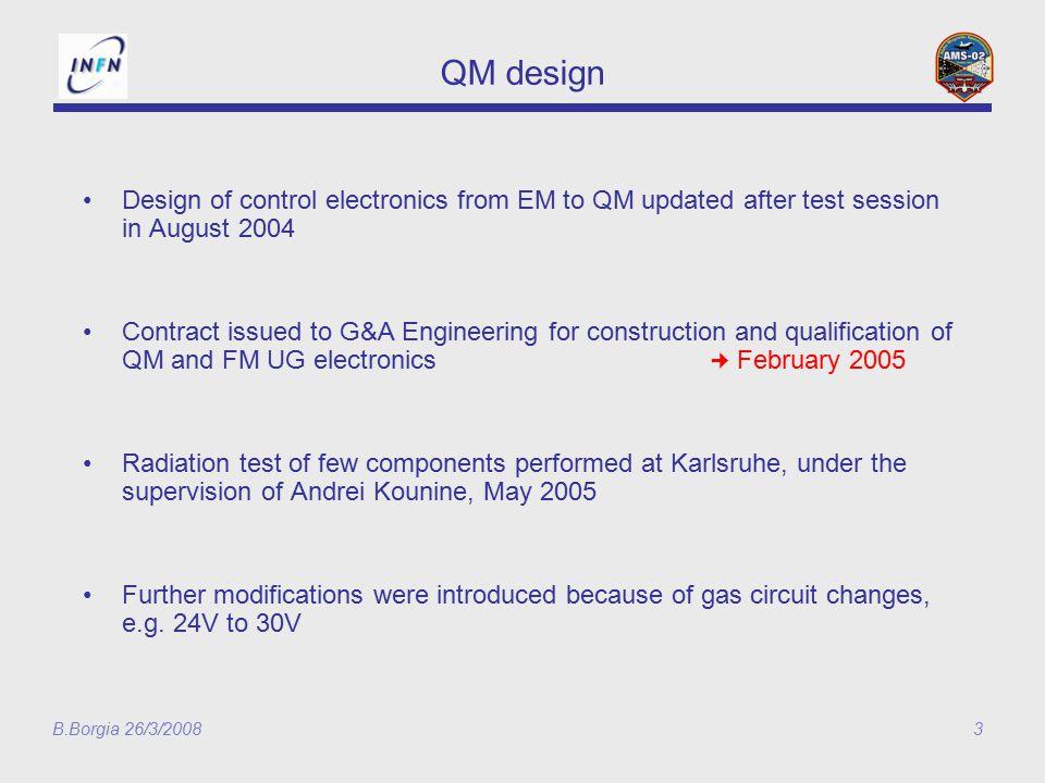 B.Borgia 26/3/200814 UG-QM2 14 Marzo: UGPD-QM arrivato a Roma 18 Marzo: test funzionale UG-QM2+UGPD-QM ok 25 Marzo: inizio test EMC UG-QM2+UGPD-QM