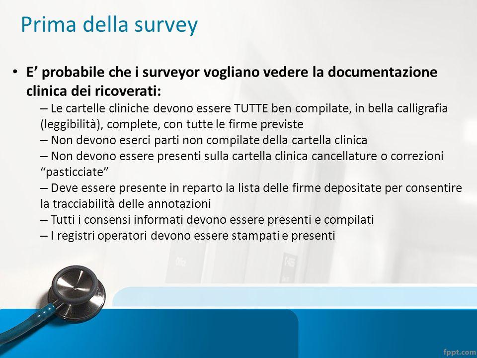Prima della survey E' probabile che i surveyor vogliano vedere la documentazione clinica dei ricoverati: – Le cartelle cliniche devono essere TUTTE be