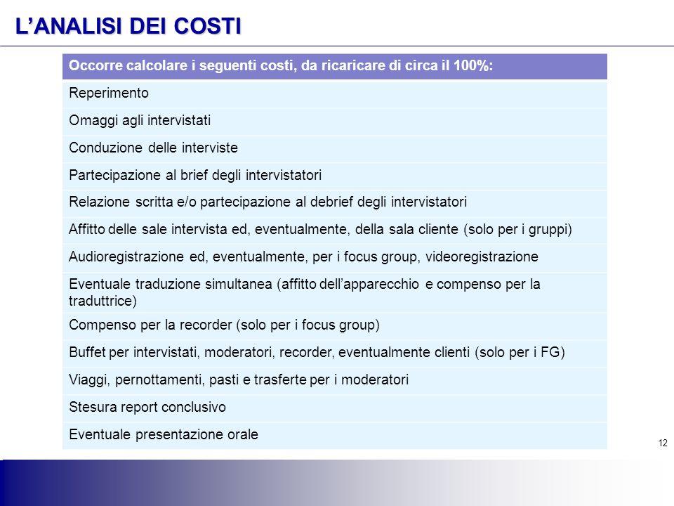 12 L'ANALISI DEI COSTI Occorre calcolare i seguenti costi, da ricaricare di circa il 100%: Reperimento Omaggi agli intervistati Conduzione delle inter