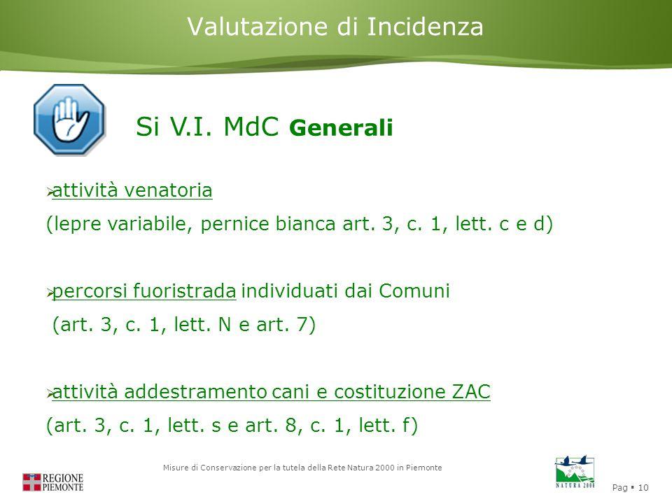 Pag  10 Misure di Conservazione per la tutela della Rete Natura 2000 in Piemonte Valutazione di Incidenza Si V.I. MdC Generali  attività venatoria (