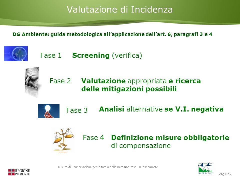 Pag  12 Misure di Conservazione per la tutela della Rete Natura 2000 in Piemonte Valutazione di Incidenza Fase 1Screening (verifica) Fase 2 Fase 3 Fa