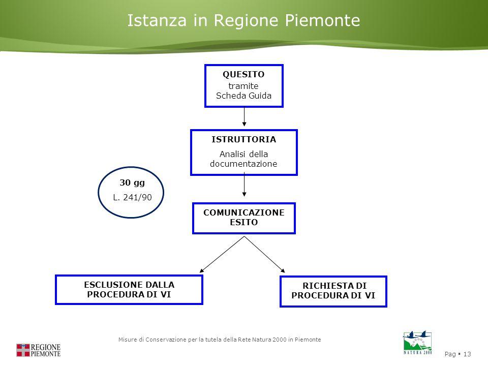 Pag  13 Misure di Conservazione per la tutela della Rete Natura 2000 in Piemonte Istanza in Regione Piemonte QUESITO tramite Scheda Guida ISTRUTTORIA