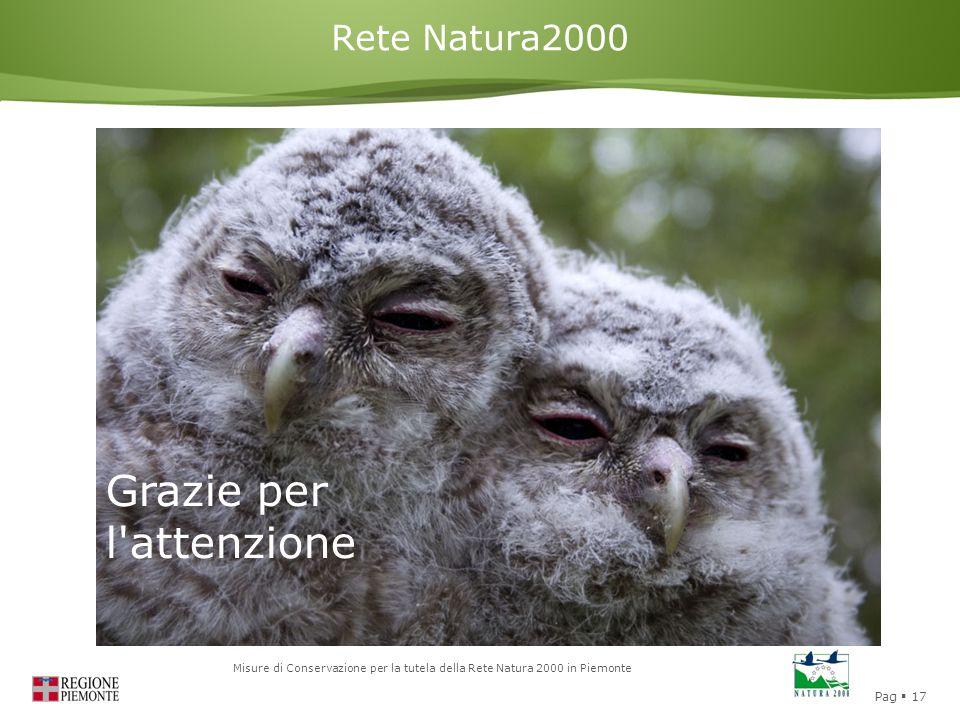 Pag  17 Misure di Conservazione per la tutela della Rete Natura 2000 in Piemonte Rete Natura2000 Grazie per l'attenzione