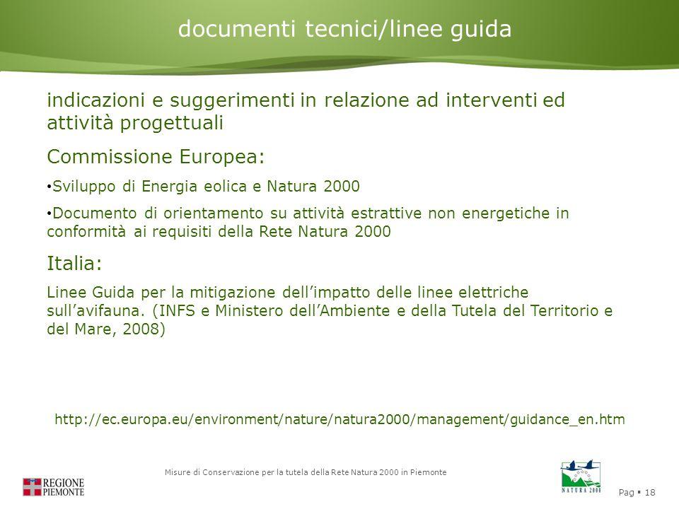 Pag  18 Misure di Conservazione per la tutela della Rete Natura 2000 in Piemonte Valutazione di Incidenza documenti tecnici/linee guida indicazioni e suggerimenti in relazione ad interventi ed attività progettuali Commissione Europea: Sviluppo di Energia eolica e Natura 2000 Documento di orientamento su attività estrattive non energetiche in conformità ai requisiti della Rete Natura 2000 Italia: Linee Guida per la mitigazione dell'impatto delle linee elettriche sull'avifauna.