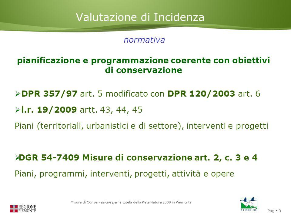 Pag  3 Misure di Conservazione per la tutela della Rete Natura 2000 in Piemonte Valutazione di Incidenza  DPR 357/97 art. 5 modificato con DPR 120/2
