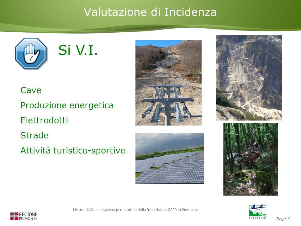 Pag  9 Misure di Conservazione per la tutela della Rete Natura 2000 in Piemonte Valutazione di Incidenza Si V.I. Cave Produzione energetica Elettrodo