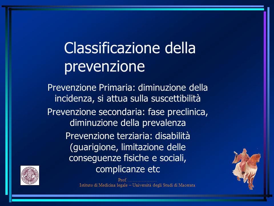 Prof. ………………. Istituto di Medicina legale – Università degli Studi di Macerata Classificazione della prevenzione Prevenzione Primaria: diminuzione del