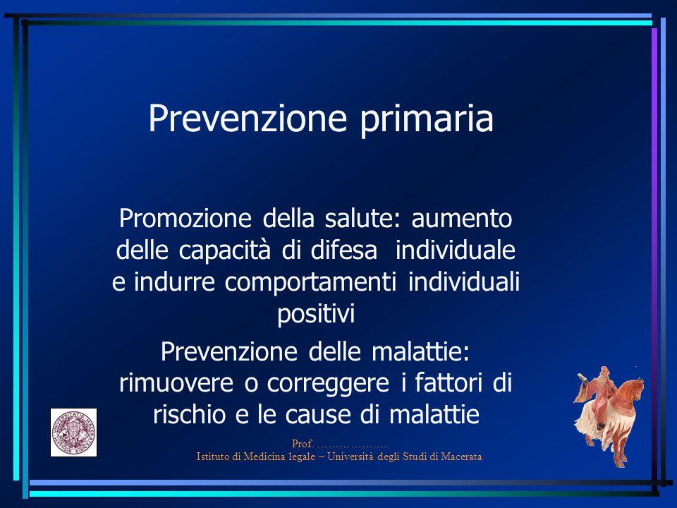 Prof. ………………. Istituto di Medicina legale – Università degli Studi di Macerata Prevenzione primaria Promozione della salute: aumento delle capacità di