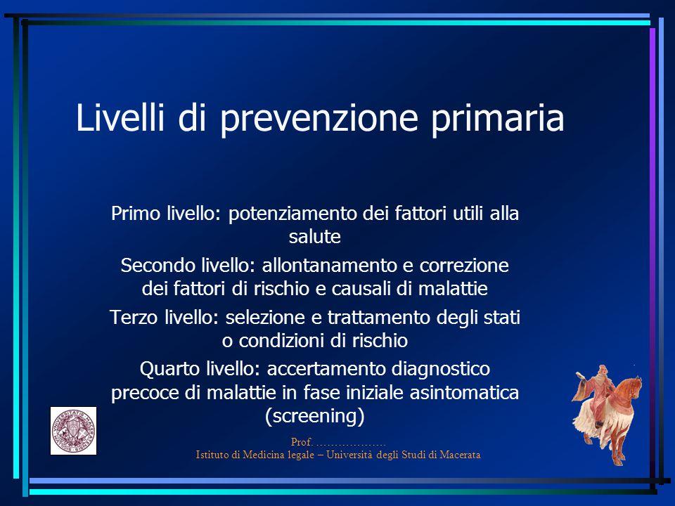 Prof. ………………. Istituto di Medicina legale – Università degli Studi di Macerata Livelli di prevenzione primaria Primo livello: potenziamento dei fattor