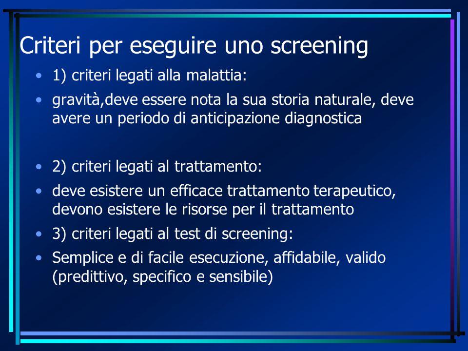 Criteri per eseguire uno screening 1) criteri legati alla malattia: gravità,deve essere nota la sua storia naturale, deve avere un periodo di anticipa