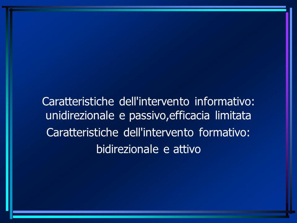 Caratteristiche dell'intervento informativo: unidirezionale e passivo,efficacia limitata Caratteristiche dell'intervento formativo: bidirezionale e at