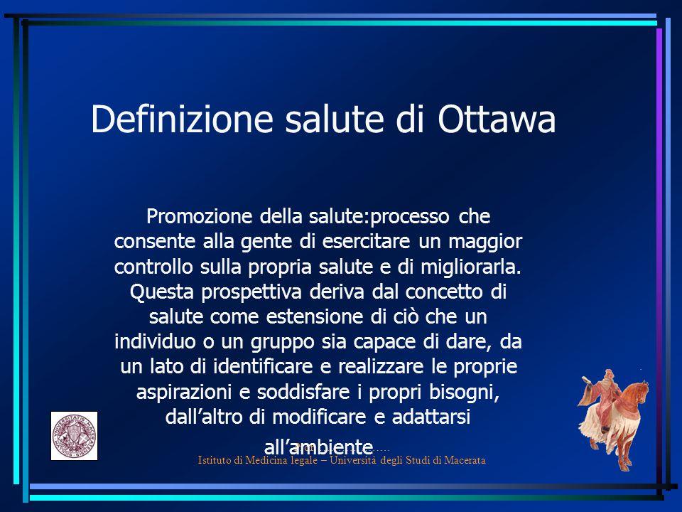 Prof. ………………. Istituto di Medicina legale – Università degli Studi di Macerata Definizione salute di Ottawa Promozione della salute:processo che conse