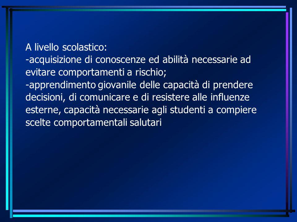 A livello scolastico: -acquisizione di conoscenze ed abilità necessarie ad evitare comportamenti a rischio; -apprendimento giovanile delle capacità di