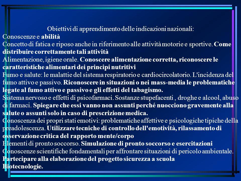 Obiettivi di apprendimento delle indicazioni nazionali: Conoscenze e abilità Concetto di fatica e riposo anche in riferimento alle attività motorie e