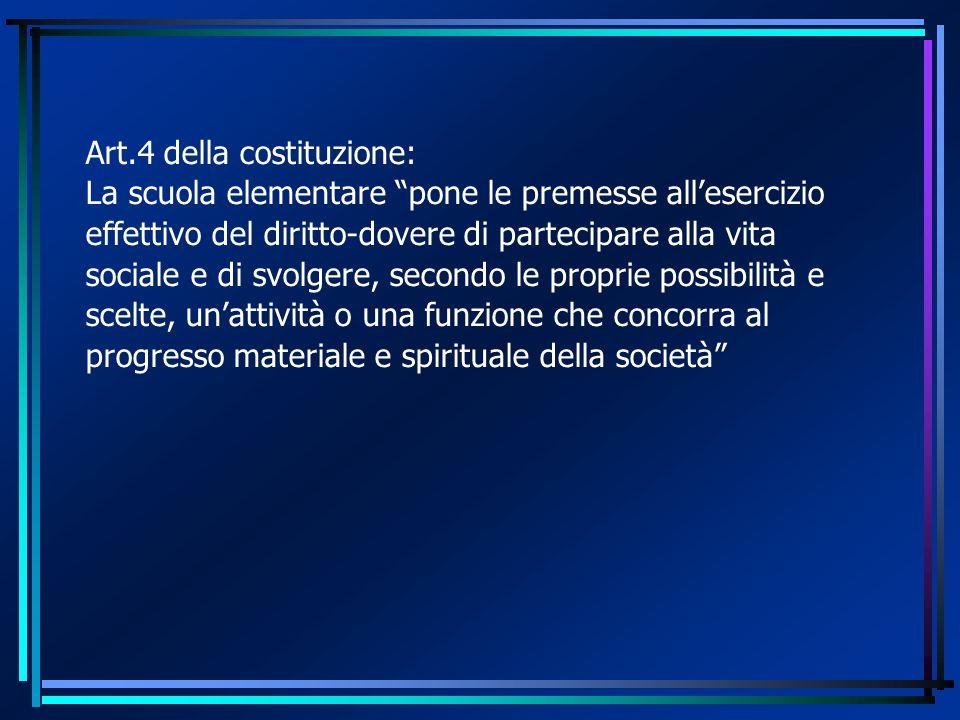 """Art.4 della costituzione: La scuola elementare """"pone le premesse all'esercizio effettivo del diritto-dovere di partecipare alla vita sociale e di svol"""