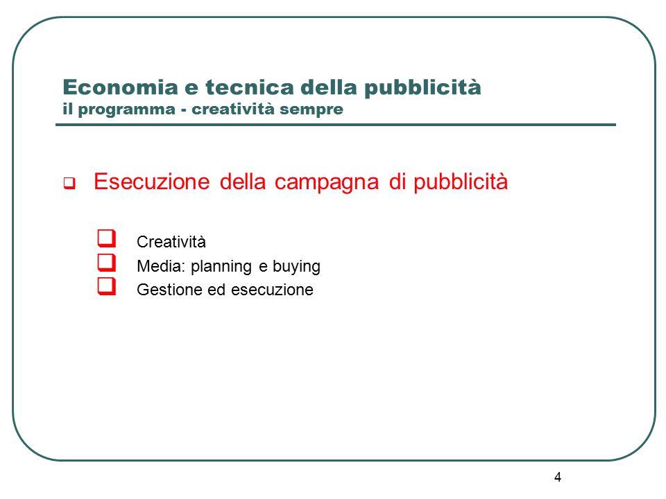4 Economia e tecnica della pubblicità il programma - creatività sempre  Esecuzione della campagna di pubblicità  Creatività  Media: planning e buying  Gestione ed esecuzione