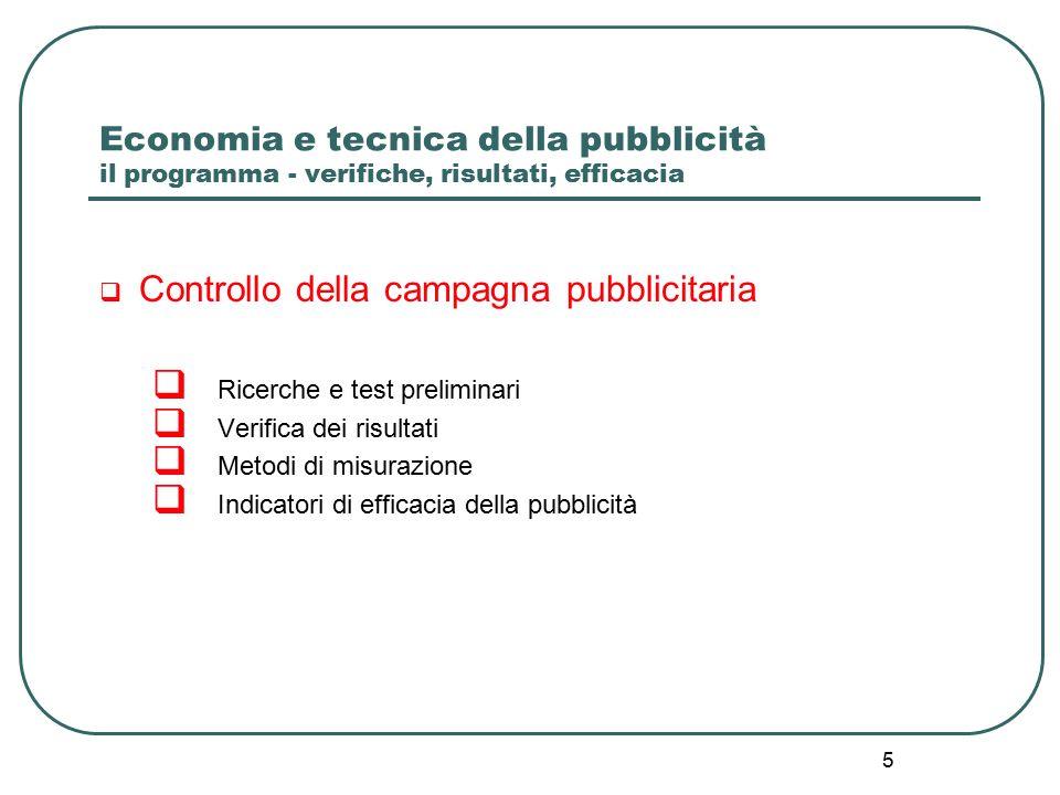 5 Economia e tecnica della pubblicità il programma - verifiche, risultati, efficacia  Controllo della campagna pubblicitaria  Ricerche e test preliminari  Verifica dei risultati  Metodi di misurazione  Indicatori di efficacia della pubblicità