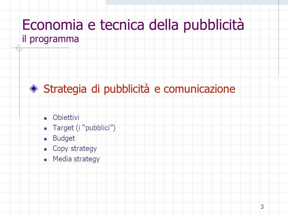 3 Economia e tecnica della pubblicità il programma Strategia di pubblicità e comunicazione Obiettivi Target (i pubblici ) Budget Copy strategy Media strategy