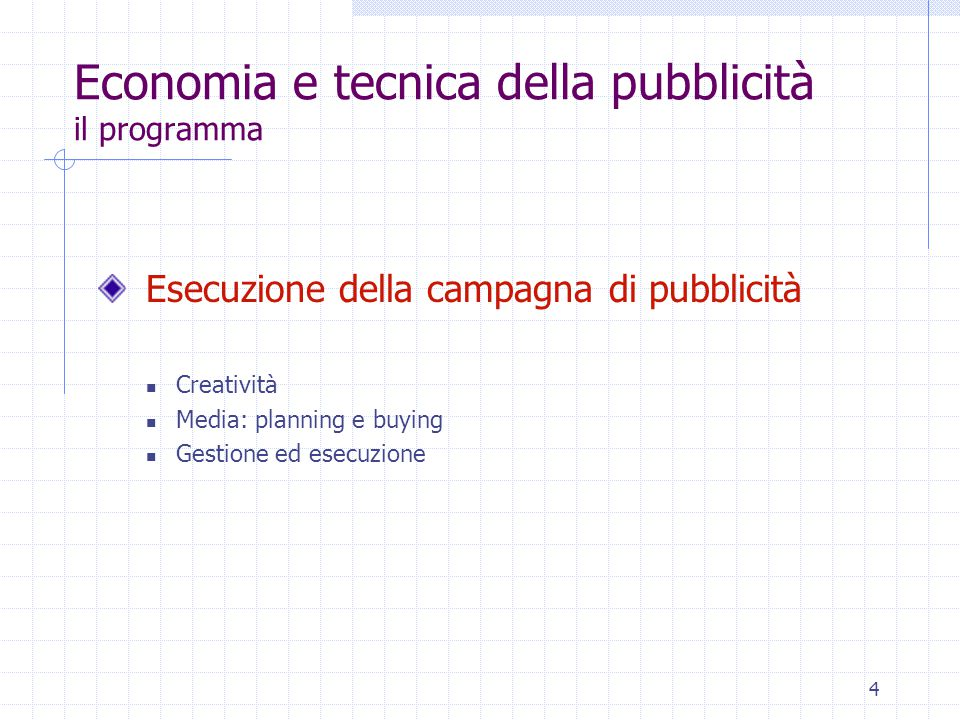 4 Economia e tecnica della pubblicità il programma Esecuzione della campagna di pubblicità Creatività Media: planning e buying Gestione ed esecuzione