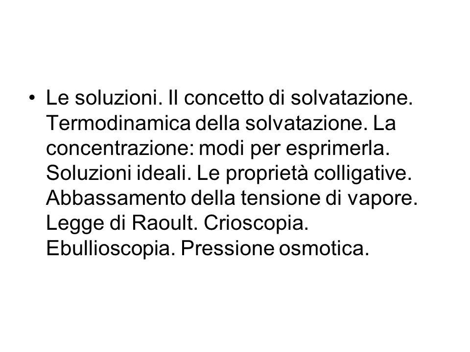 Le soluzioni.Il concetto di solvatazione. Termodinamica della solvatazione.