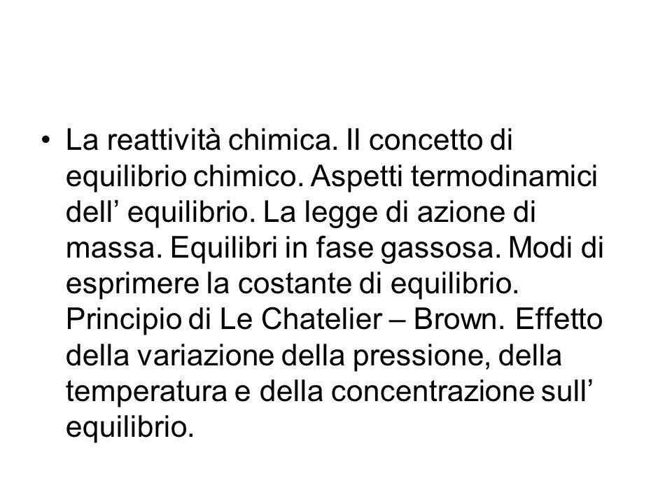La reattività chimica.Il concetto di equilibrio chimico.
