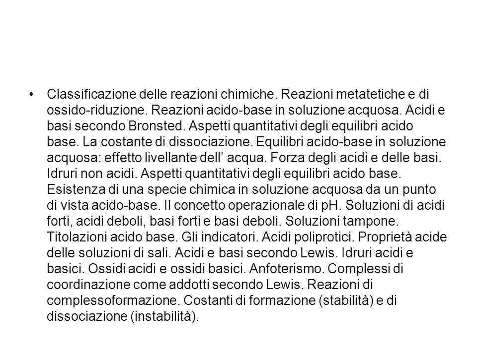 Classificazione delle reazioni chimiche.Reazioni metatetiche e di ossido-riduzione.