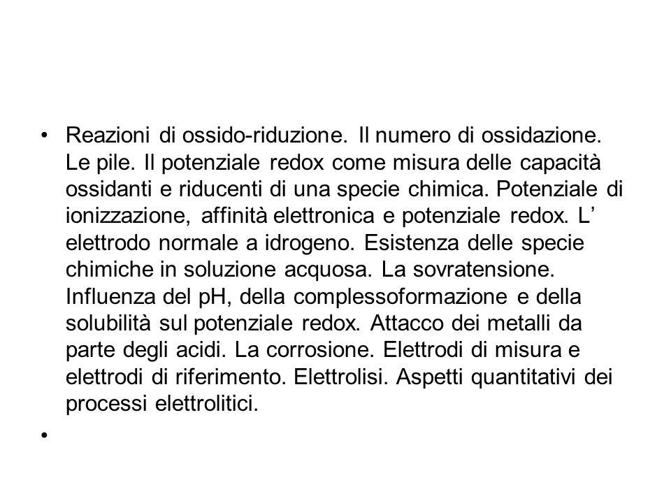 Reazioni di ossido-riduzione.Il numero di ossidazione.