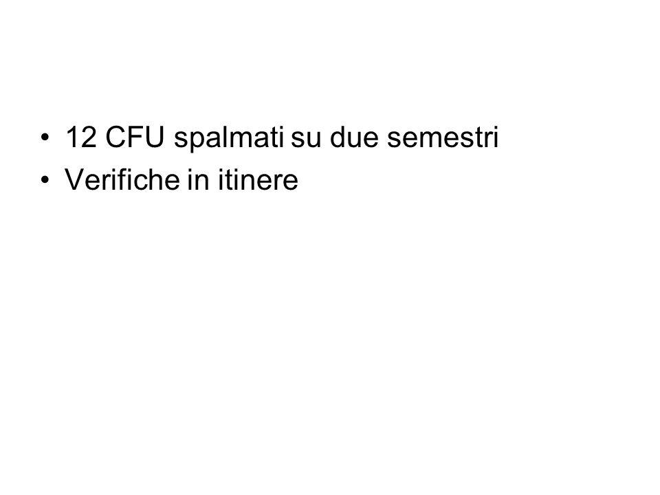 12 CFU spalmati su due semestri Verifiche in itinere