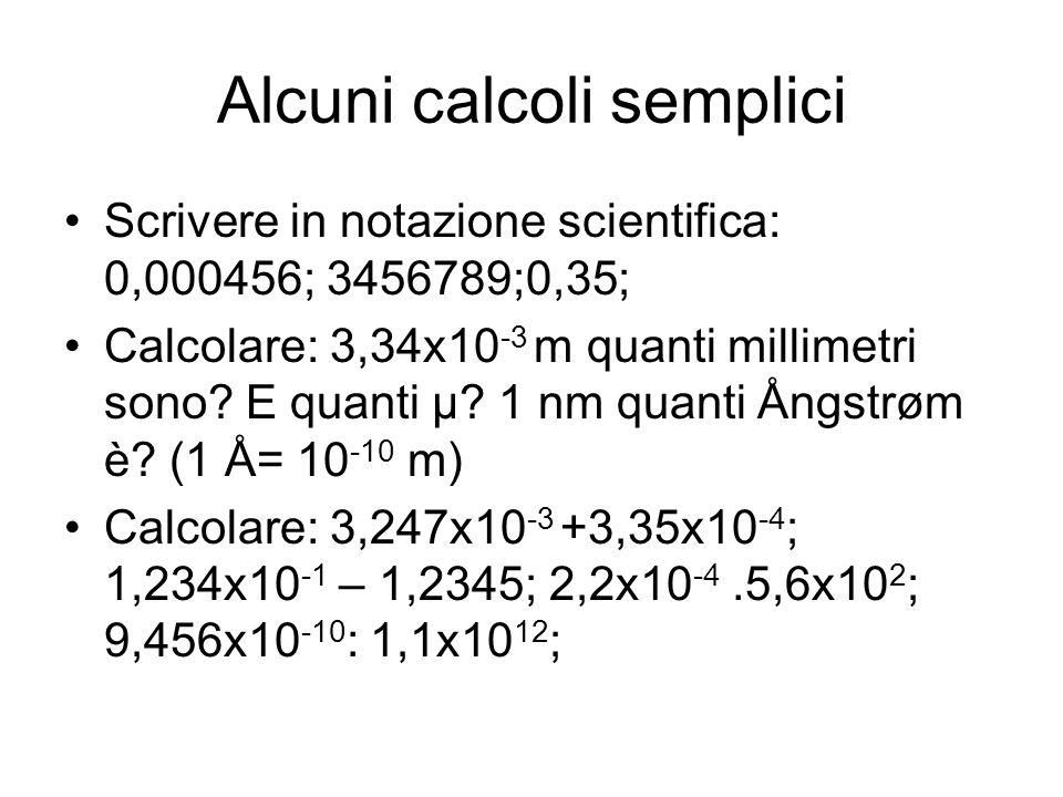 Alcuni calcoli semplici Scrivere in notazione scientifica: 0,000456; 3456789;0,35; Calcolare: 3,34x10 -3 m quanti millimetri sono.