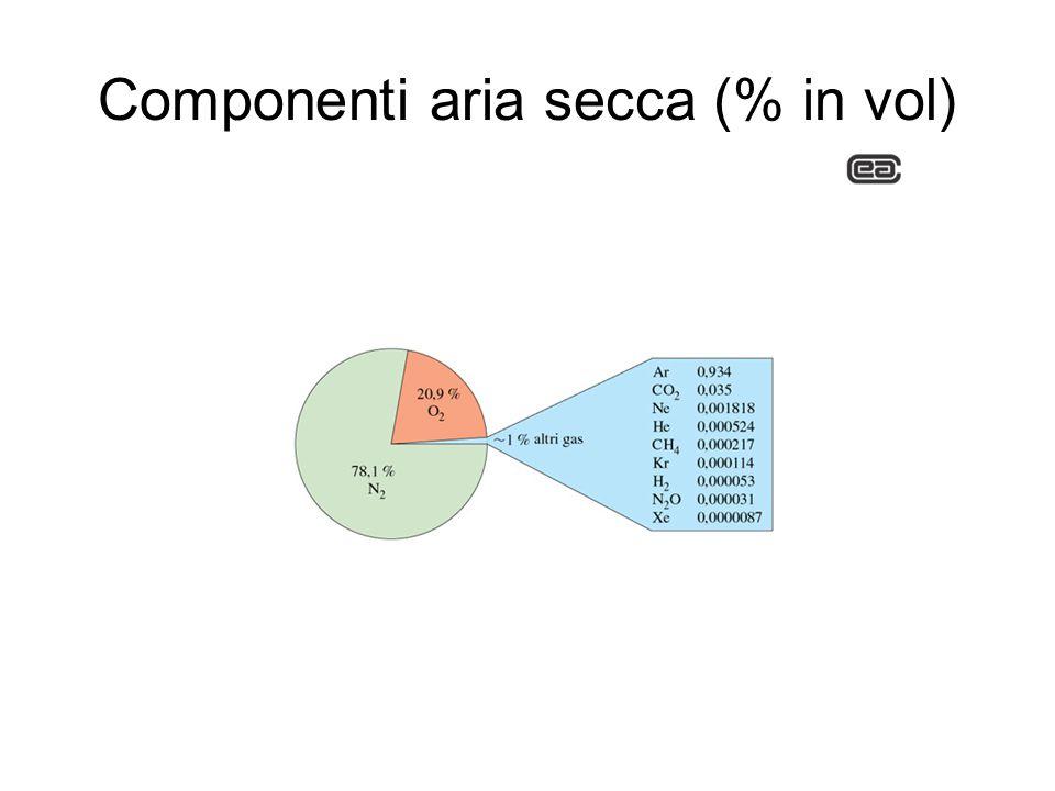 Componenti aria secca (% in vol)