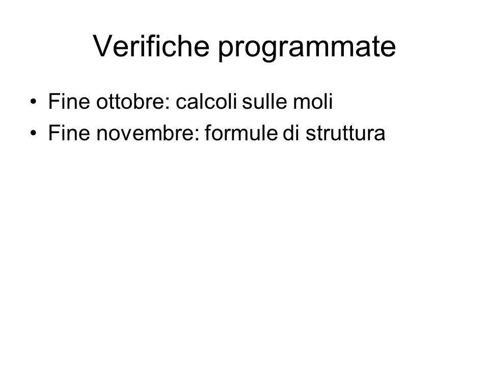 Verifiche programmate Fine ottobre: calcoli sulle moli Fine novembre: formule di struttura