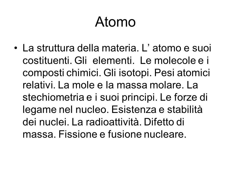 Atomo La struttura della materia.L' atomo e suoi costituenti.