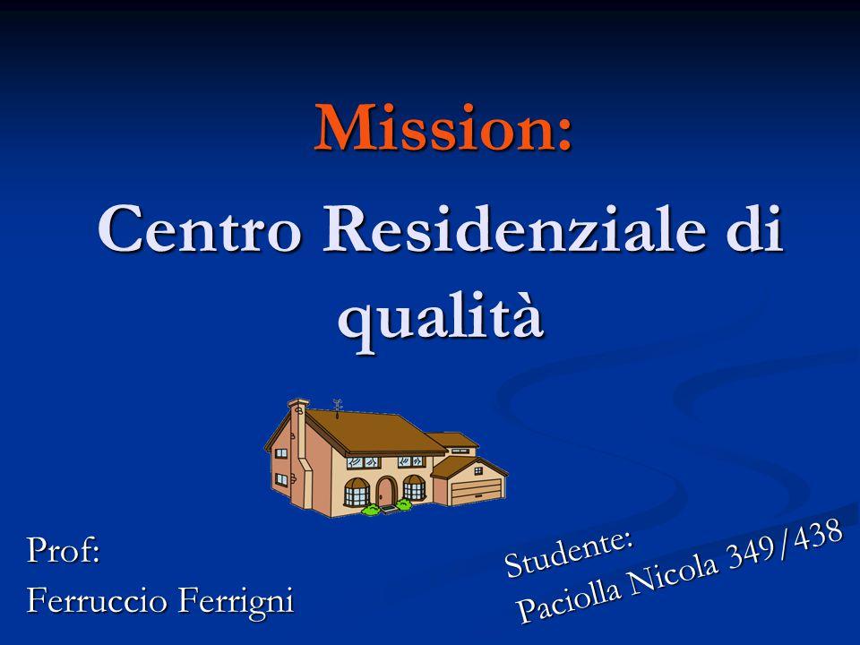 Mission: Prof: Ferruccio Ferrigni Centro Residenziale di qualità Studente: Paciolla Nicola 349/438