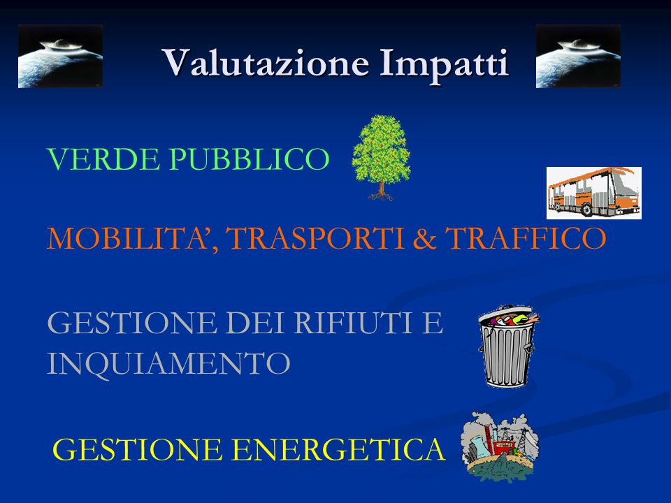 Valutazione Impatti VERDE PUBBLICO MOBILITA', TRASPORTI & TRAFFICO GESTIONE DEI RIFIUTI E INQUIAMENTO GESTIONE ENERGETICA