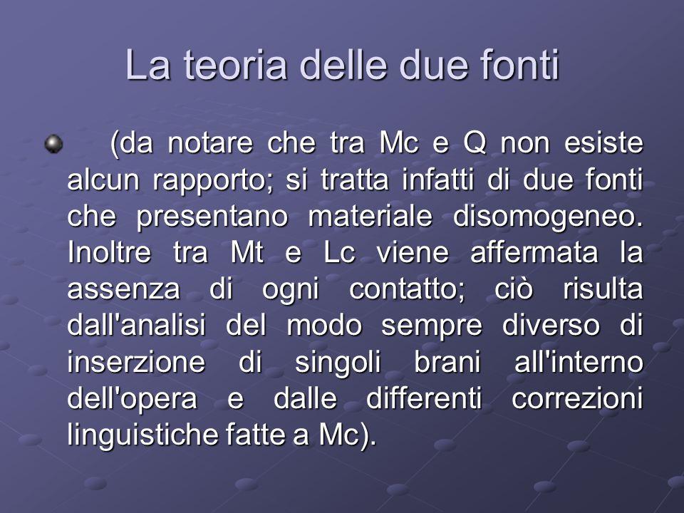(da notare che tra Mc e Q non esiste alcun rapporto; si tratta infatti di due fonti che presentano materiale disomogeneo.