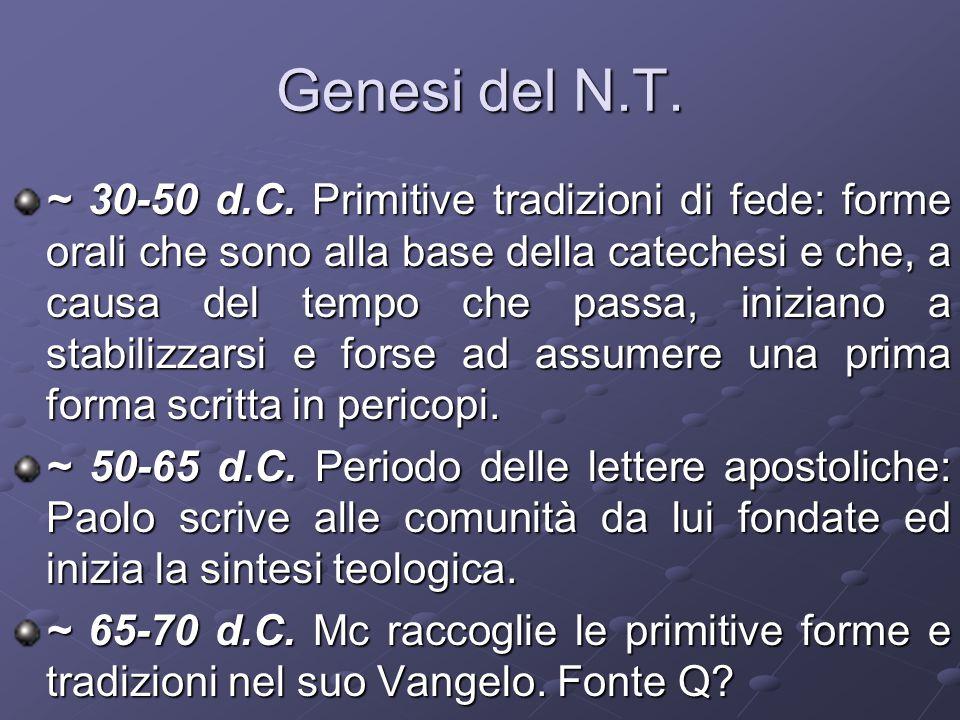 Genesi del N.T.~ 30-50 d.C.