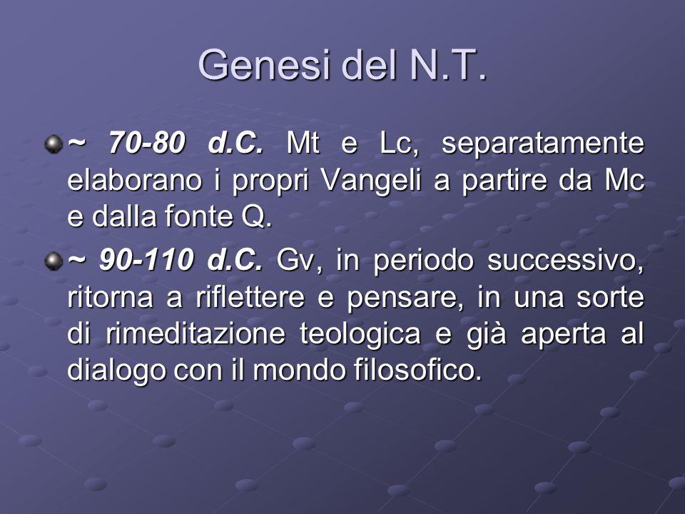 Genesi del N.T.~ 70-80 d.C.