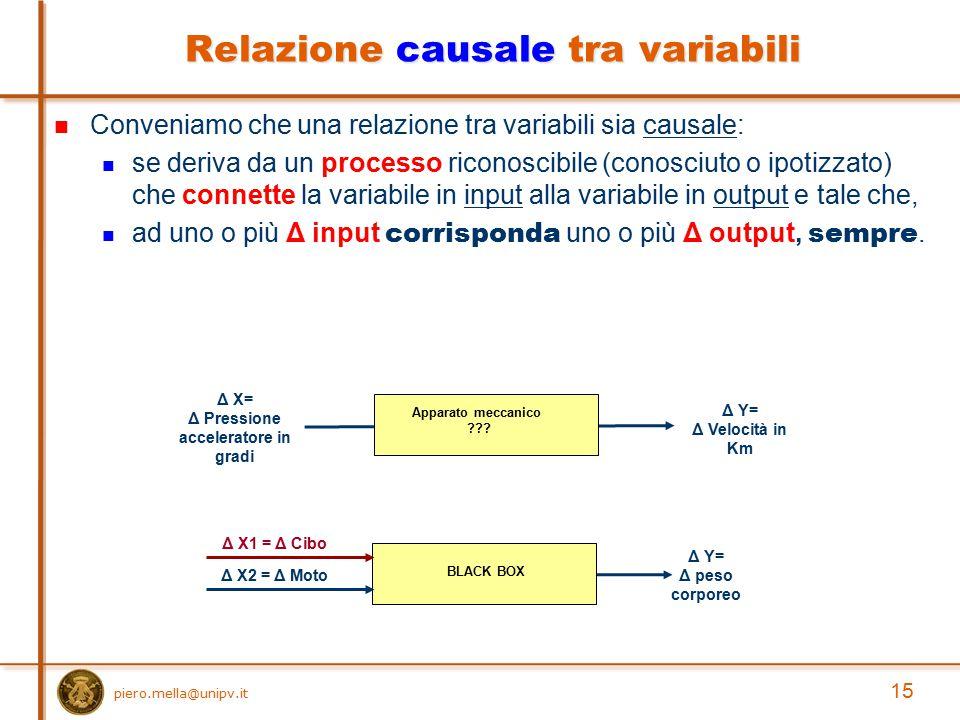 Conveniamo che una relazione tra variabili sia causale: se deriva da un processo riconoscibile (conosciuto o ipotizzato) che connette la variabile in