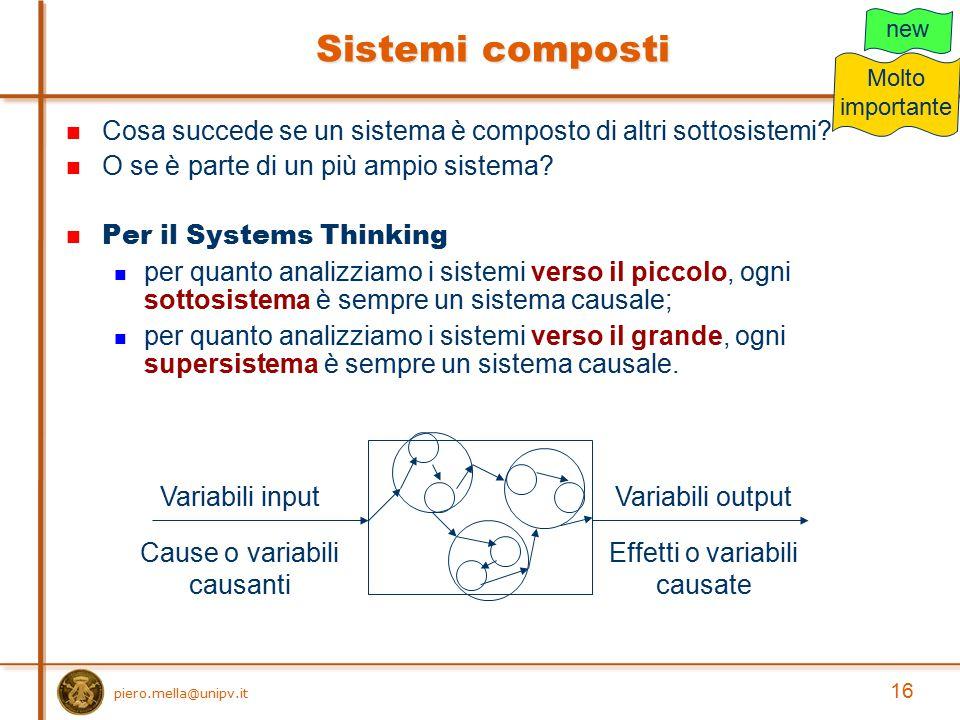 16 Cosa succede se un sistema è composto di altri sottosistemi? O se è parte di un più ampio sistema? Per il Systems Thinking per quanto analizziamo i